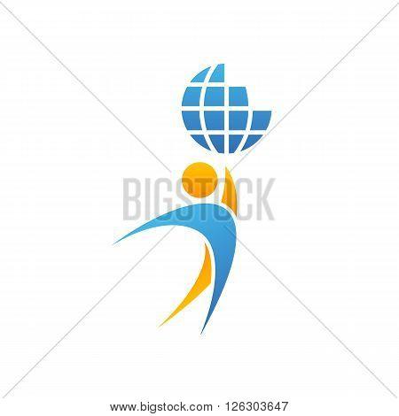 Globe logo man hands up planet together, achievement success creative idea, save Earth emblem mockup
