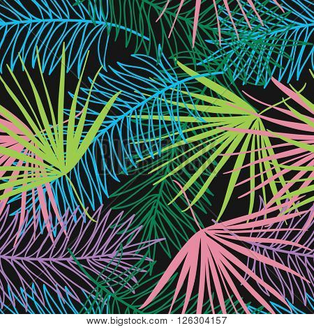 seamless pattern with colors  tropical plants