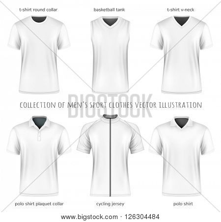 Collection of vector men's sport clothes for your design. Fully editable handmade mesh.