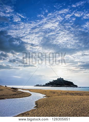 St Michael's Mount Against Sunset Near Penzance In Cornwall