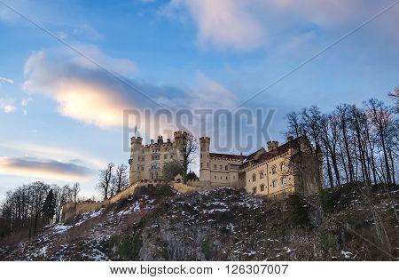 Hohenschwangau castle in Bavaria, Germany, in winter