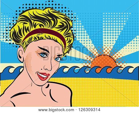 Blond smiley girl relax on the beach. Bohemian retro chic lady in pop art style. Portrait of a girl blonde with curvy retro hairstyle, silhouette with shoulders. Design for cards, tourism, invites.