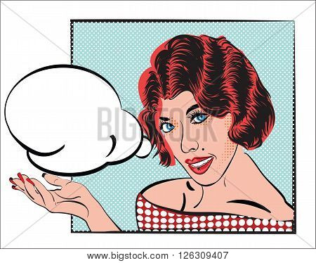 Pop Art comic girl  with red hair and dress with dots pattern and with speech bubble in the palm hand. Vector illustration design for invitation, greeting card, announcing sale, party.