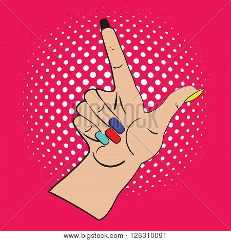 Hand with raised index finger on the bright pink background and white points in the background. Call attention and information with index finger.Female hand made in pop art style, comicks, scetch.