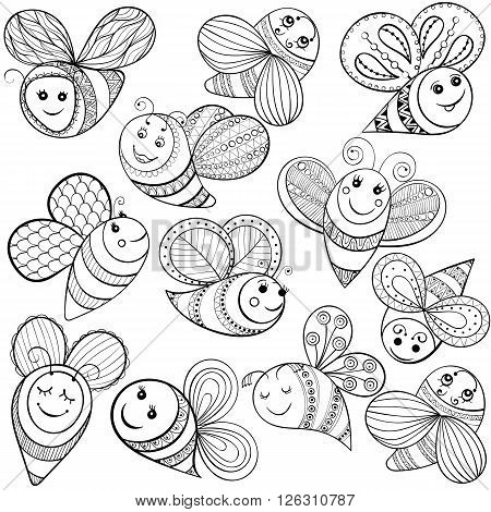Vector bees for adult coloring page. Hand drawn funny magic bee for t-shirt print in zentangle, tattoo design. Patterned doodle with fairy tail insects. Happy flying bee.