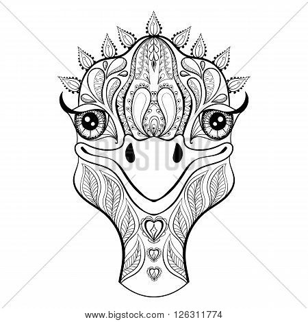 Vector ostrich for adult coloring page. Hand drawn funny ostrich head for t-shirt print in zentangle style, tattoo design, ornamental animal logo. Patterned doodle with smiled ostrich face.