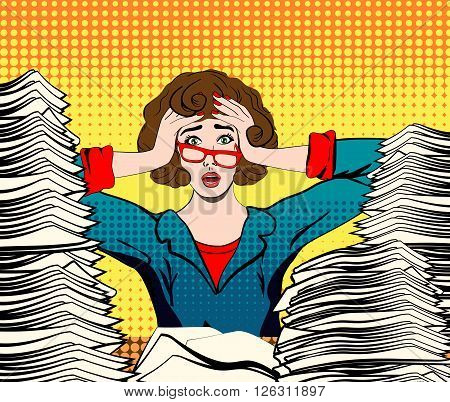 stressed woman. stressed worker. businesswoman in panic. a young girl sits at his Desk and holds her hands on her head. pop art vector illustration. Paper Work. Stressed person concept