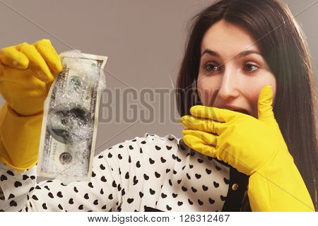 young woman launder shady money (illegal cash dollars bill corruption manipulation)
