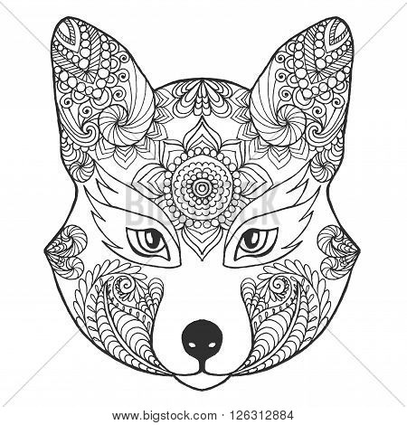 Fox head. Black white hand drawn doodle animal. Ethnic patterned vector illustration. African, indian, totem, tribal, zentangle design. Sketch for coloring page, tattoo, poster, print, t-shirt