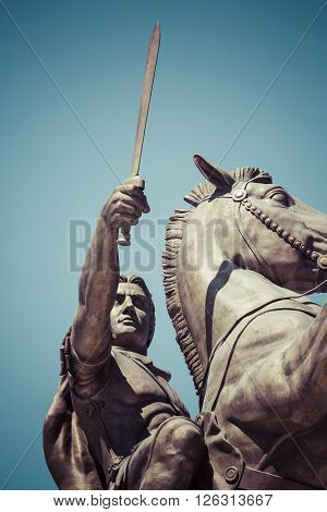 """Warrior on a Horse statue """"Alexander the Great"""" on Skopje Square poster"""