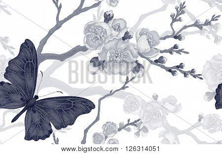 Seamless vector floral pattern. Illustration sakura branch Victorian style. Vintage luxury decoration sakura branch. Series flower design in unique technique. Sakura and butterfly on white background.
