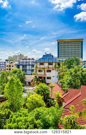 Chiang Mai city with blue sky and green plant