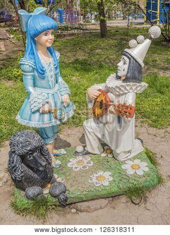 ROSTOV-ON-DON RUSSIA- APRIL 11- Malvina Pierrot and Artemon in Gorky Park on April 11; 2016 in Rostov-on-Don