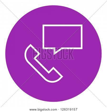Receiver with speach square line icon.