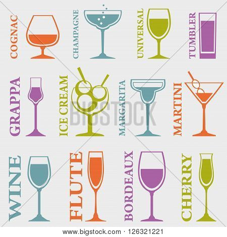 Set of Alcohol Drinks icons. Tumblers set for alcohol drinks cocktails and ice cream. Vector illustration