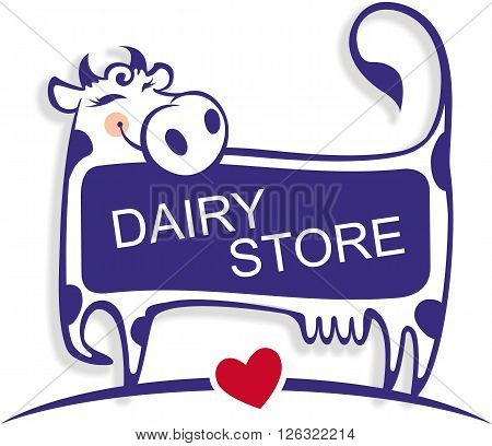 Vector illustration of a cute good cow. Template for banner advertising or logo for dairy store dairy company or as element of packaging for dairy products.