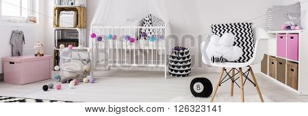 Shot of a modern pink and white nursery