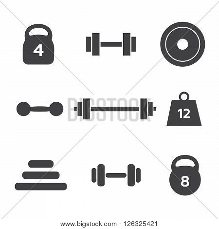 Weight vector icons. Weight dumbbell, heavy weight barbell