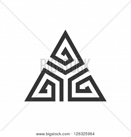 Abstract black triangle. Geometric background. Vector illustration