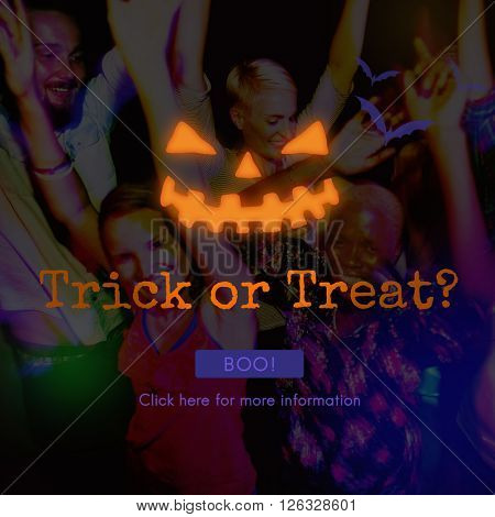 Trick Treat Candies Bucket Festive Halloween Concept