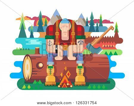 Sawyer sitting on log. Worker and lumberjack, forester man, flat vector illustration
