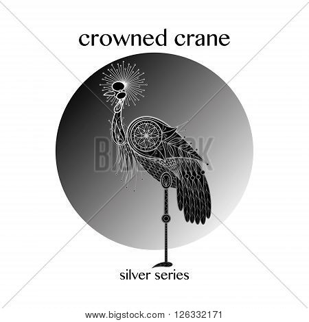 Bird Crowned Crane. Vector illustration. The series of silver on black.