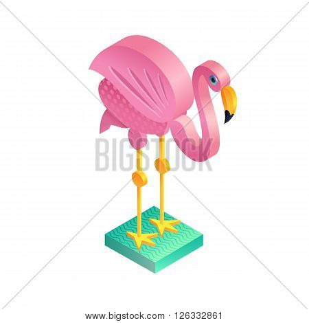 Bird flamingo. Illustration isometric icon. The vector image of the animal in the original unusual style isolated on white background.