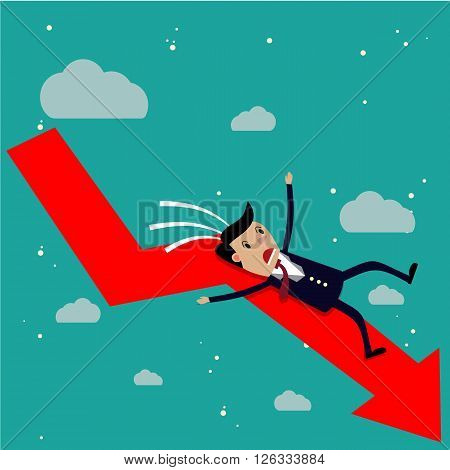 cartoon businessman falling from the red chart arrow. Loser, broke concept. vector illustration in flat design on green background