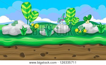 Seamless horizontal summer background with white stones and bright mushrooms for video game