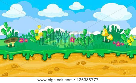 Seamless horizontal summer background with bright cartoon mushrooms for video game