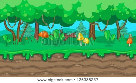 Seamless horizontal summer background with mushrooms and lianas for video game