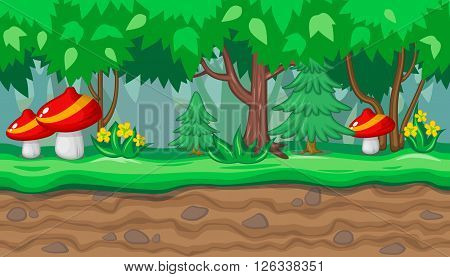 Seamless horizontal summer background with big red mushrooms and fir trees for video game