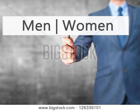 Men Women - Businessman Hand Holding Sign