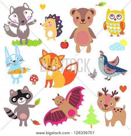 Forest animals set. Wolf hedgehog bear owl rabbit fox partridge quail raccoon bat deer