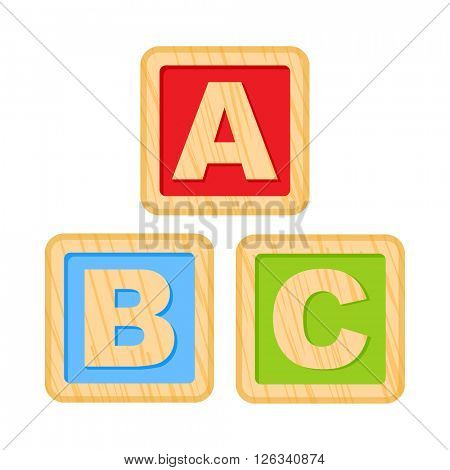 ABC blocks. Wooden alphabet cubes with A,B,C letters. 10eps
