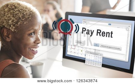 Pay Rent Leasing Real Estate Renting Available Concept