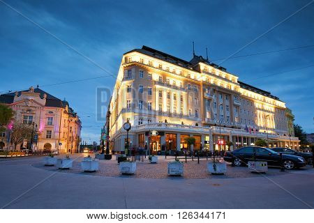 BRATISLAVA, SLOVAKIA - APRIL 18, 2016: Carlton hotel and Slovak philharmony in Hviezdoslav square in the old town of Bratislava on April 18, 2016.