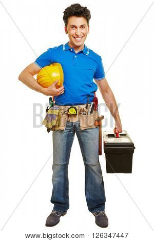 Smiling worker with hardhat and tool belt and toolbox
