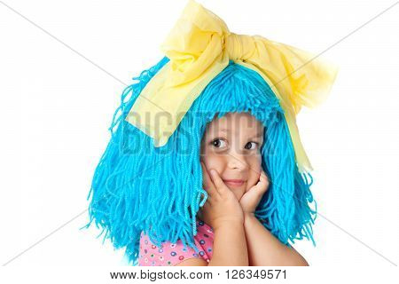 Funny child in costume with blue hair, isolated over white