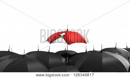 3D Render Red Umbrella Stand Out From The Crowd Of Many Black And White Umbrellas. Business, Leader