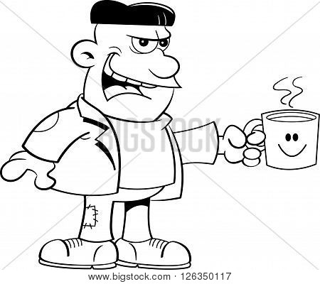 Black and white illustration of a monster holding a coffee cup.