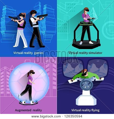 Virtual reality flying simulator 4 flat icons square with games and sport activities abstract isolated vector illustration