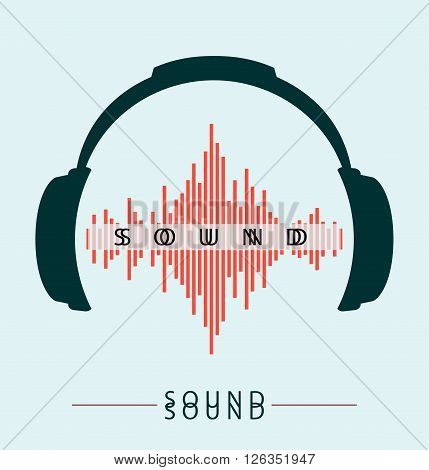 Headphones Icon With Sound Wave Beats Vector flat illustration Headphones Icon With Sound Wave Beats Vector flat illustration