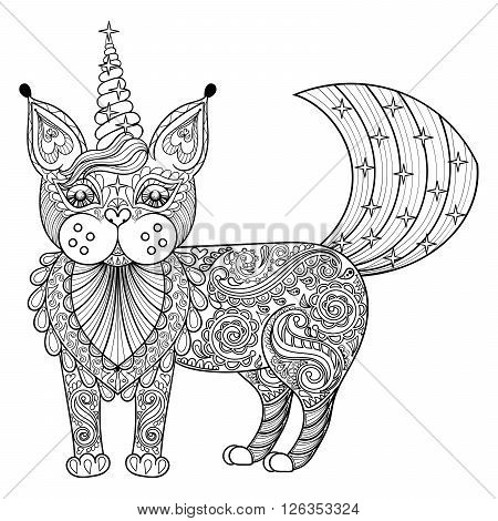 Vector zentangle magic cat unicorn, black print for adult anti stress coloring page. Hand drawn artistically ethnic ornamental patterned illustration. Animal collection.