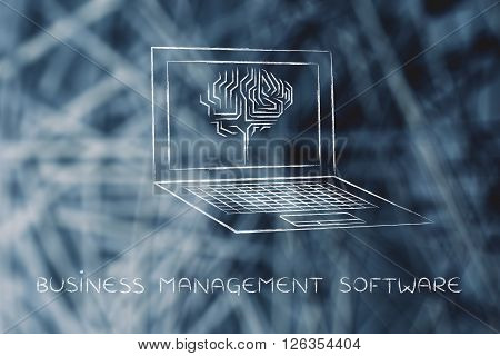 Laptop With Circuit Brain On Screen, Business Management Software