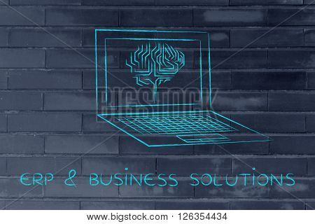 Laptop With Circuit Brain On Screen, Erp & Business Solutions