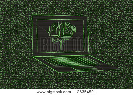 Laptop With Circuit Brain On Screen, With Messy Binary Code Around