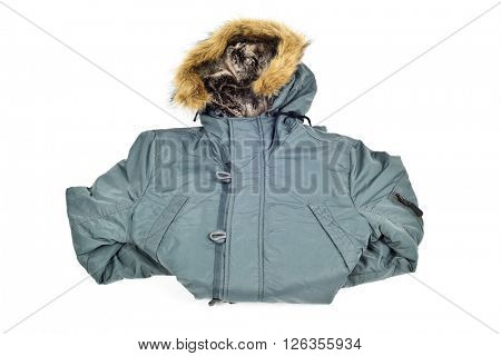 a warmer green parka with a fur lined hood on a white background