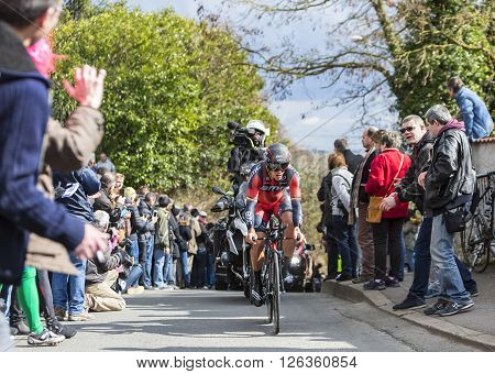 Conflans-Sainte-Honorine, France-March 6,2016: The Belgian cyclist Philippe Gilbert of BMC Racing Team riding during the prologue stage of Paris-Nice 2016.