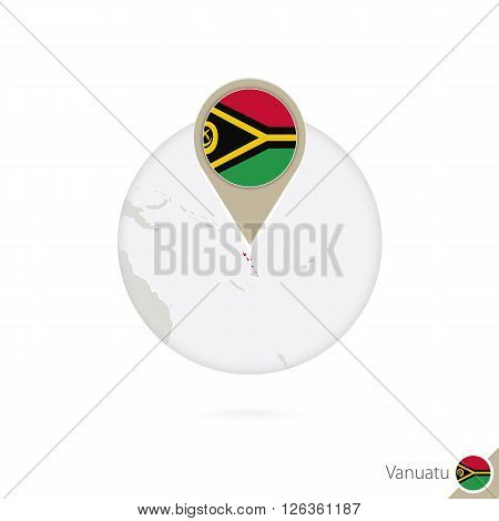 Vanuatu Map And Flag In Circle. Map Of Vanuatu, Vanuatu Flag Pin. Map Of Vanuatu In The Style Of The